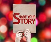 Share Your Story card with colorful background with defocused lights