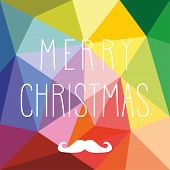 Vector card with hipster mustache and hand drawn Merry Christmas wishes on flat wrapping surface