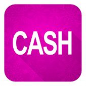 cash violet flat icon, christmas button