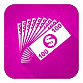 money violet flat icon, christmas button, cash symbol