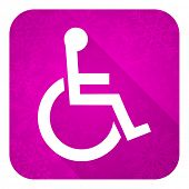 wheelchair violet flat icon, christmas button