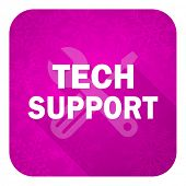 technical support violet flat icon, christmas button