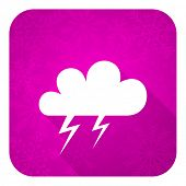 storm violet flat icon, christmas button, waether forecast sign
