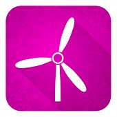 windmill violet flat icon, christmas button, renewable energy sign