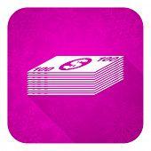 money violet flat icon, christmas button, cash symbol