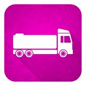 truck violet flat icon, christmas button, cargo sign