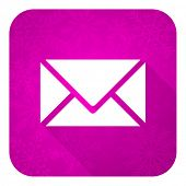 email violet flat icon, christmas button, post sign