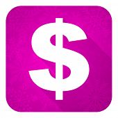 dollar violet flat icon, christmas button, us dollar sign