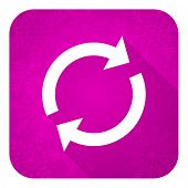 reload violet flat icon, christmas button, refresh sign