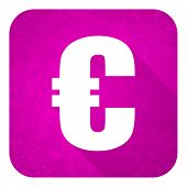 euro violet flat icon, christmas button