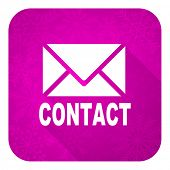 email violet flat icon, christmas button, contact sign