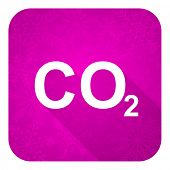 carbon dioxide violet flat icon, christmas button, co2 sign