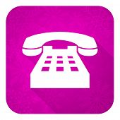 phone violet flat icon, christmas button, telephone sign