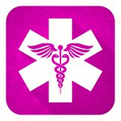 emergency violet flat icon, christmas button, hospital sign