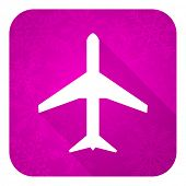 plane violet flat icon, christmas button, airport sign