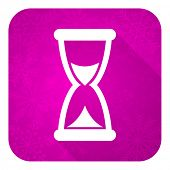 time violet flat icon, christmas button, hourglass sign