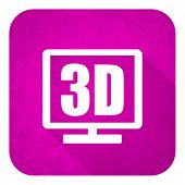 3d display violet flat icon, christmas button