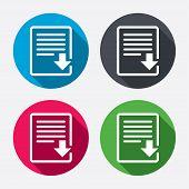 Download file icon. File document symbol.