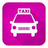 taxi violet flat icon, christmas button