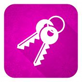 keys violet flat icon, christmas button