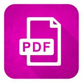 pdf file violet flat icon, christmas button