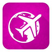 travel violet flat icon, christmas button