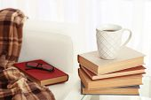 Composition of books with drink cup near sofa with plaid  on tabletop on the light window background