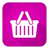 cart violet flat icon, christmas button, shopping cart symbol