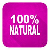 natural violet flat icon, christmas button, 100 percent natural sign