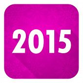 new year 2015 violet flat icon, christmas button, new years symbol