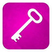 key violet flat icon, christmas button, secure symbol