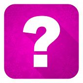 question mark violet flat icon, christmas button, ask sign