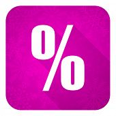 percent violet flat icon, christmas button