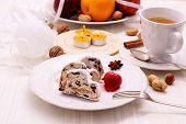 Christmas Stollen Cake With Winter Tea