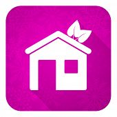 house violet flat icon, christmas button, ecological home symbol