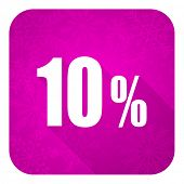 10 percent violet flat icon, christmas button, sale sign