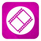 film violet flat icon, christmas button, movie sign, cinema symbol