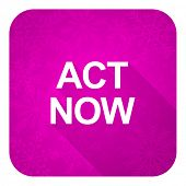 act now violet flat icon, christmas button