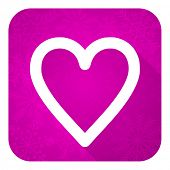 heart violet flat icon, christmas button, love sign