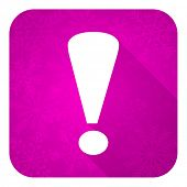exclamation sign violet flat icon, christmas button, warning sign