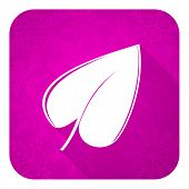 nature violet flat icon, christmas button, leaf symbol