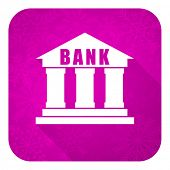 bank violet flat icon, christmas button
