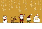 Child's drawing of Santa Claus, cute reindeer, little sheep the symbol of the year 2015, snowman and elf under a snowfall