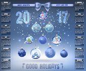 Calendar With Christmas Snow Glass Crystal Balls On 2017 In Vector