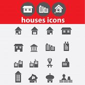 houses icons, signs set, vector