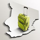 Travel To Chad. Green Suitcase On 3D Map Of The Country