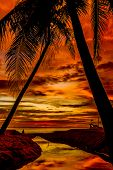 sunset at tropical sea background and reflection