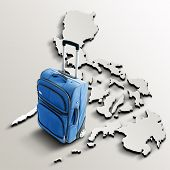 Travel To Philippines. Blue Suitcase On 3D Map Of The Country