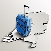 Travel To Netherlands. Blue Suitcase On 3D Map Of The Country
