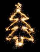 Christmas Tree Made By Sparkler On A Black